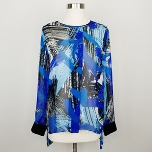 Vince Camuto Sheer Blue Abstract Print Blouse